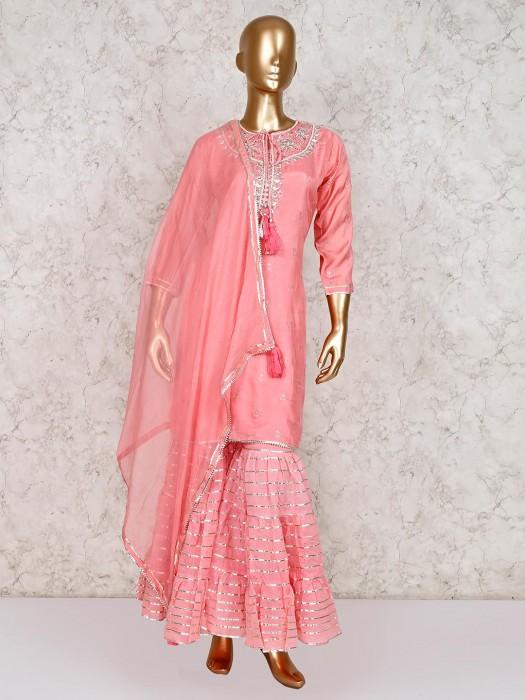 Cotton Silk Gharara Suit In Peach