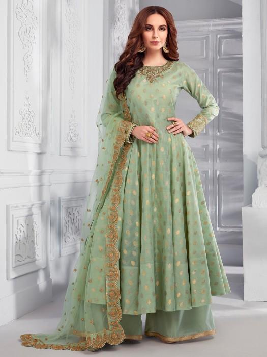 Cotton Silk Green Party Wear Pakistani Palazzo Suit