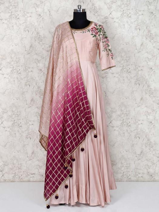 Cotton Silk Peach Anarkali Salwar Suit
