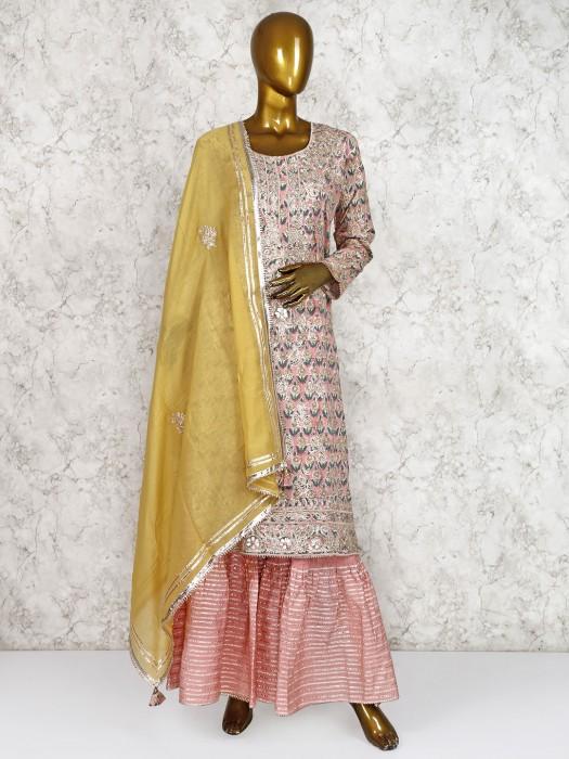Cotton Silk Pink Festive Sharara Suit