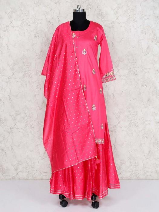 Cotton Silk Pink Lehenga Suit