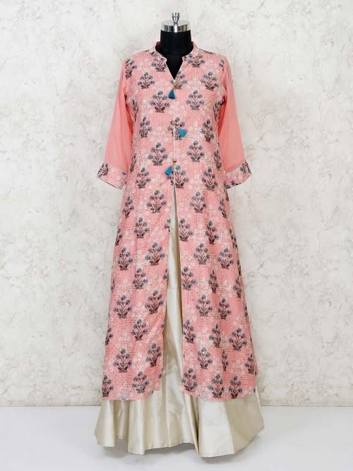 Cotton Silk Pink Printed Lehenga Suit