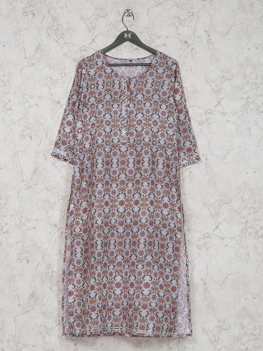Cotton Silk Printed Kurti In Light Grey