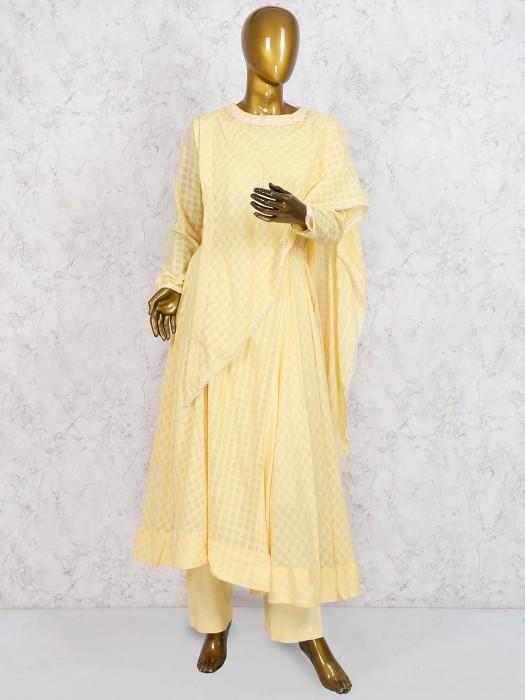 Cotton Silk Punjabi Salwar Suit In Yellow Color