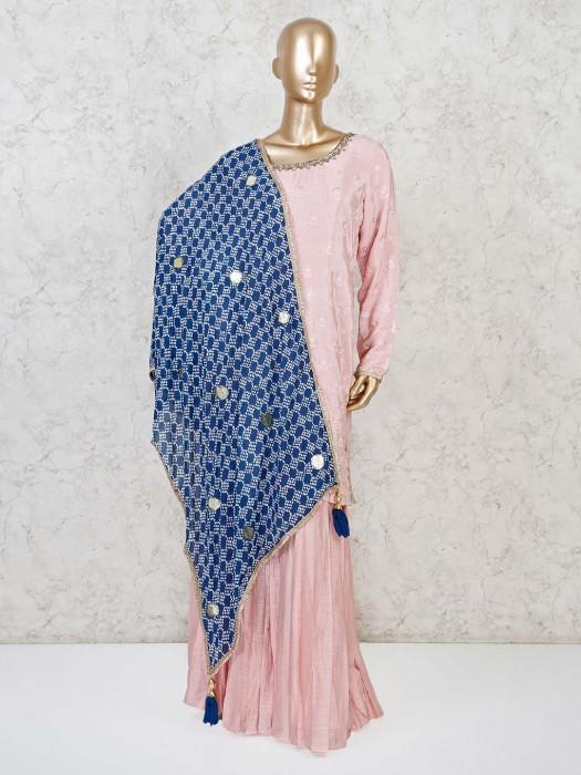 Cotton Silk Punjabi Sharara Suit In Pink