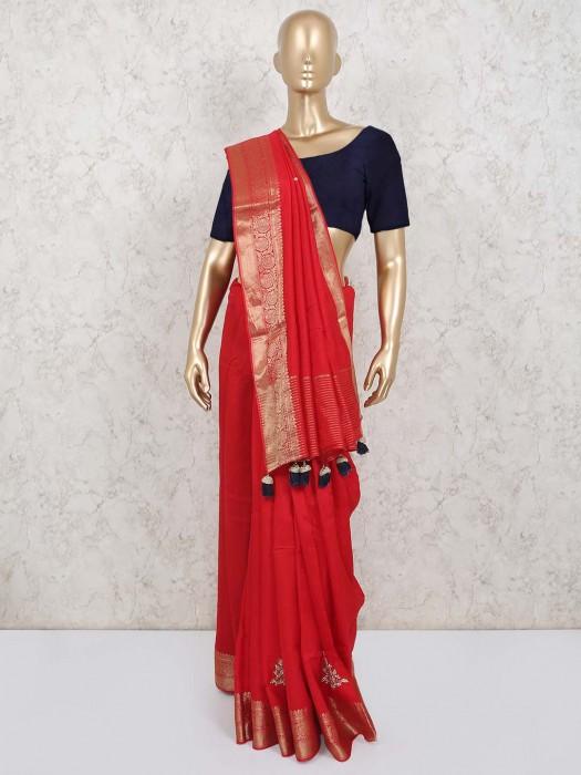 Cotton Silk Red Beautiful Saree