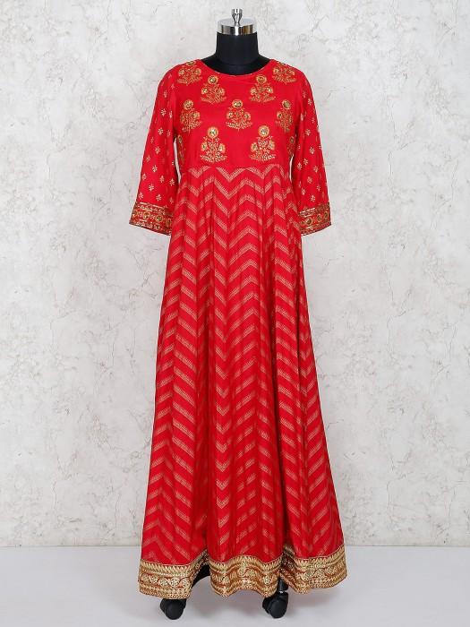 Cotton Silk Red Hue Floor Length Salwar Suit