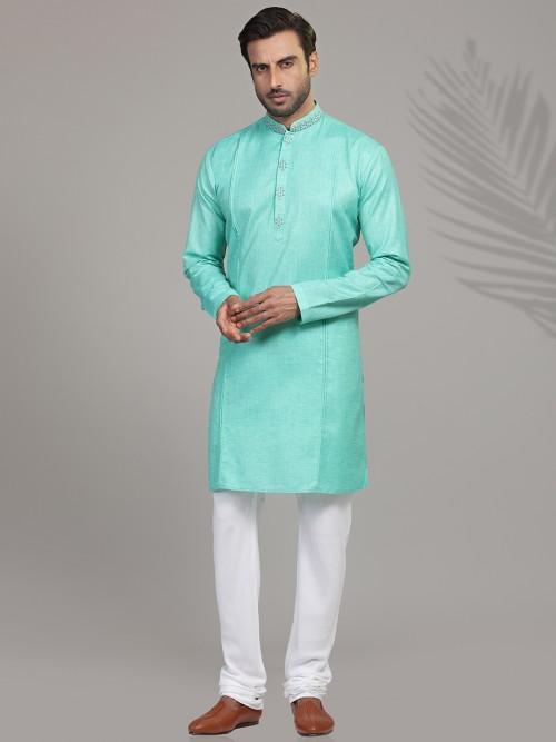 Cotton Silk Solid Aqua Kurta Suit
