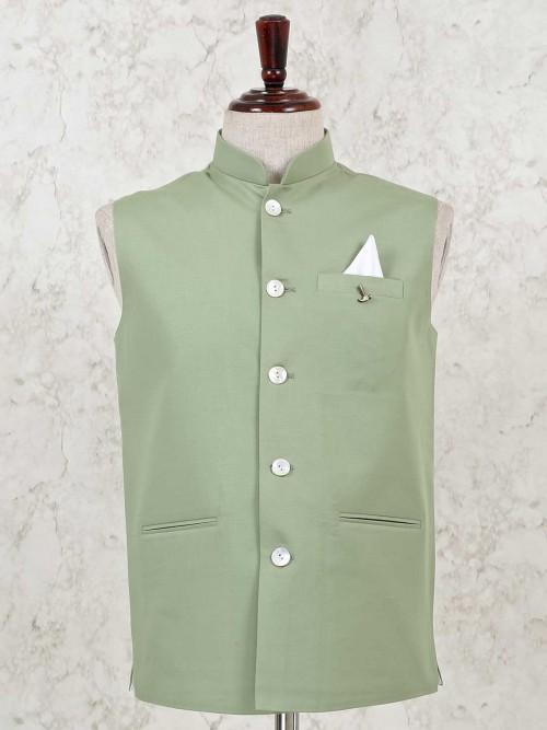 Cotton Silk Solid Green Waistcoat