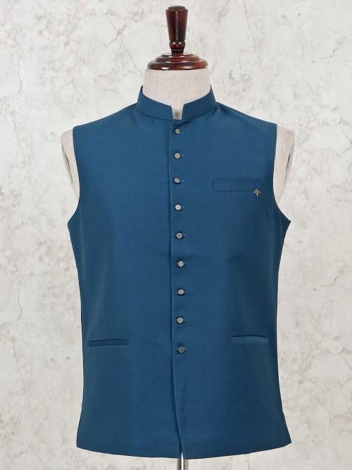 Cotton Silk Solid Rama Green Party Wear Waistcoat