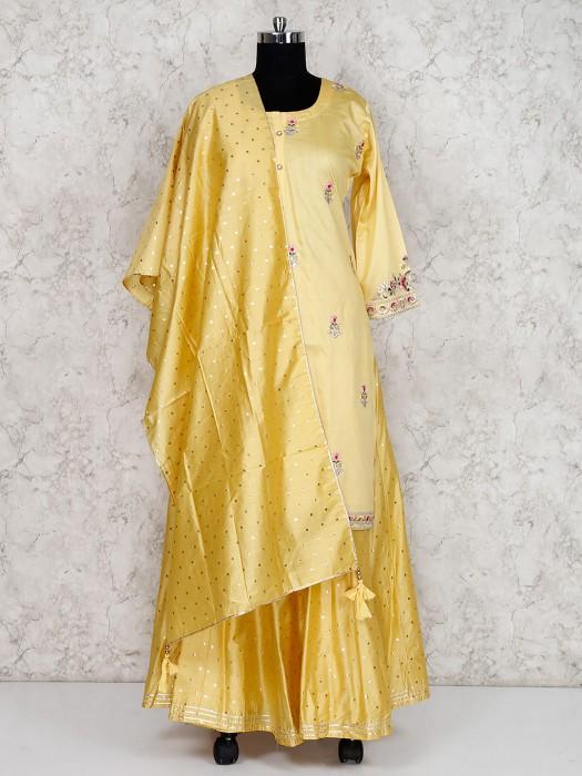 Cotton Silk Yellow Festive Lehenga Suit