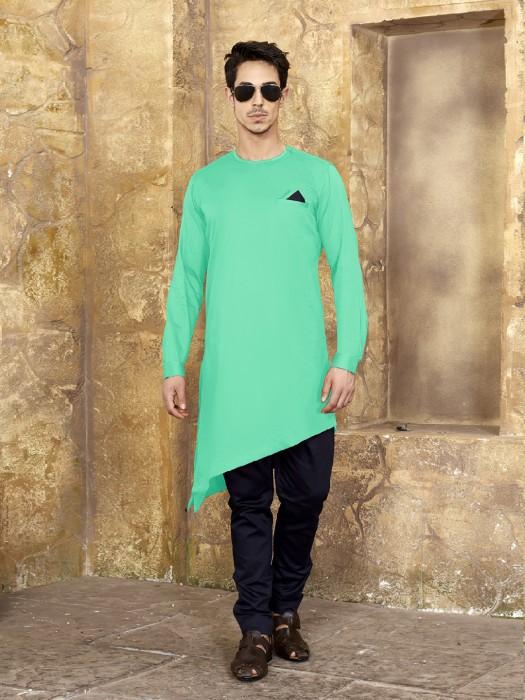 Cotton Solid Pastle Green Kurta Suit