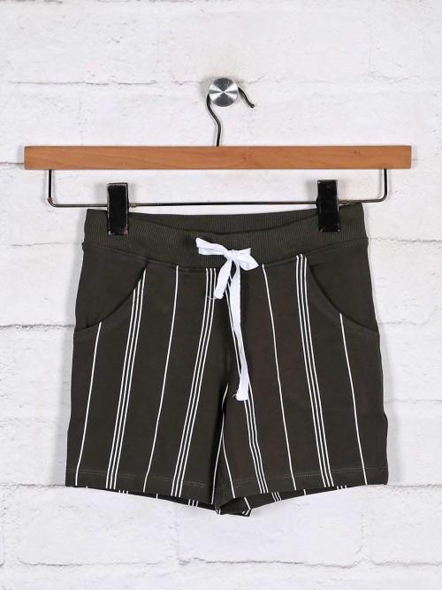 Cotton Stripe Olive Girls Shorts