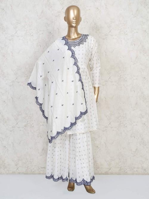 Cotton White Printed Punjabi Sharara Suit
