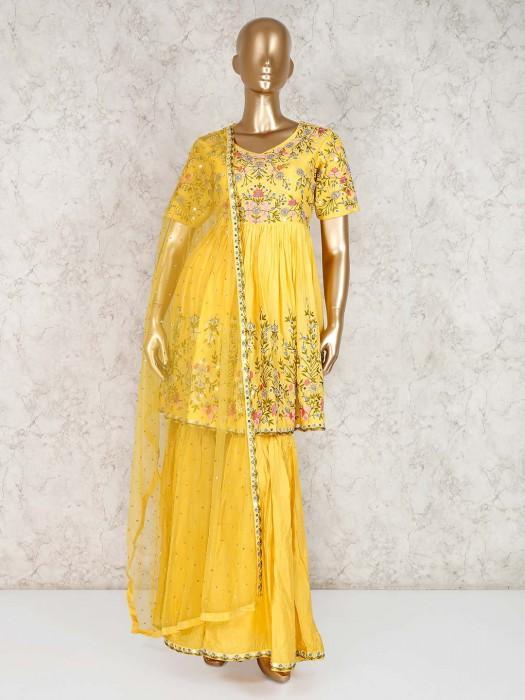 Cotton Yellow Party Or Festive Punjabi Sharara Suit