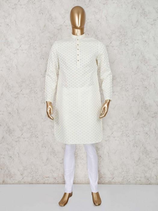 Cotton Yellow Stand Collar Kurta Suit