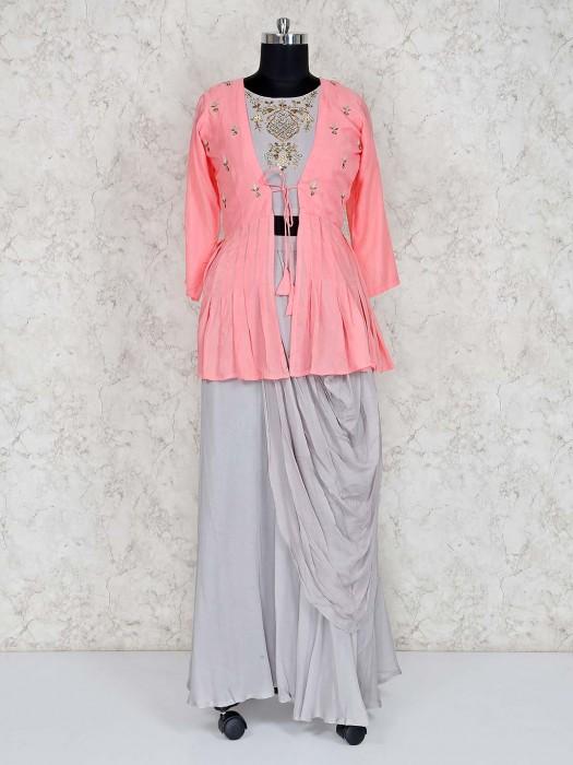 Cowl Style Grey Lehenga Choli With Contrast Jacket