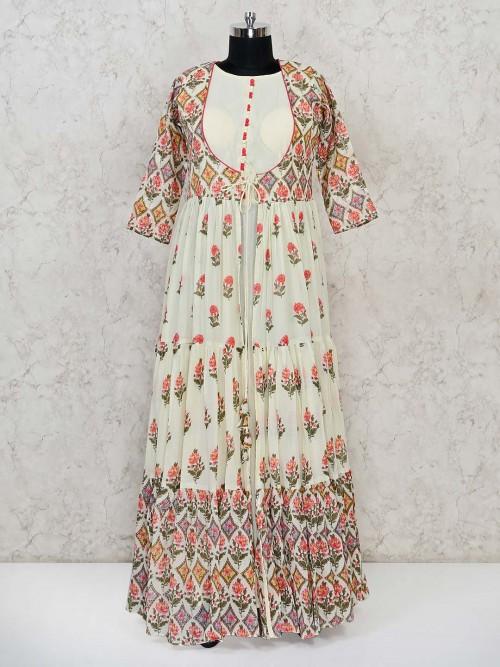 Cream Anarkali Printed Suit For Festivals