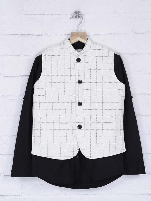 Cream And Black Checks Waistcoat Shirt