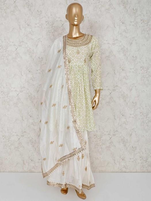 Cream And Green Printed Cotton Punjabi Sharara Suit
