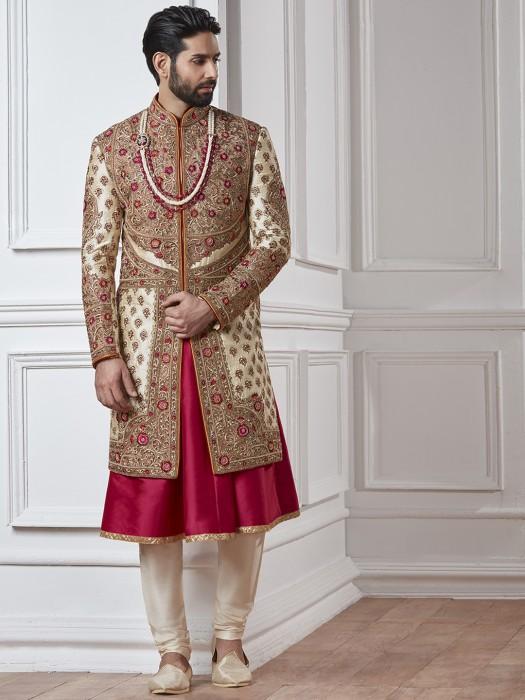 Cream And Maroon Silk Sherwani