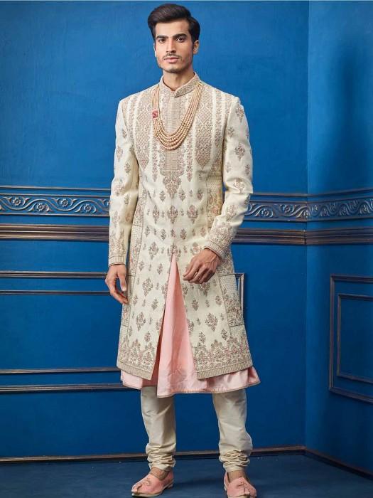 Cream And Pink Raw Silk Groom Wear Sherwani