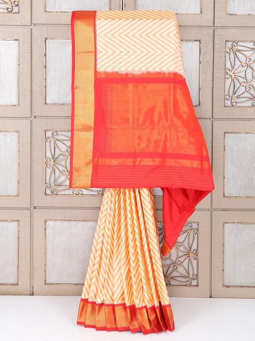 Cream And Red Color Silk Saree
