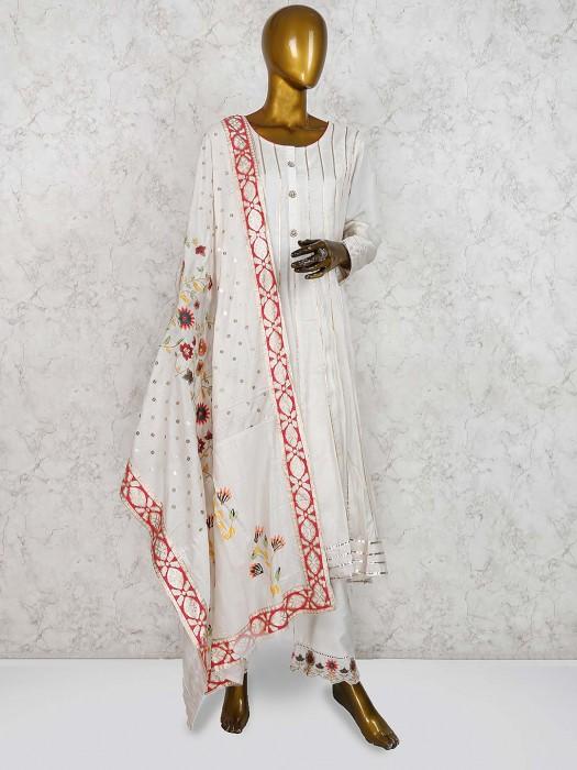 Cream Color Cotton Silk Pant Style Salwar Suit