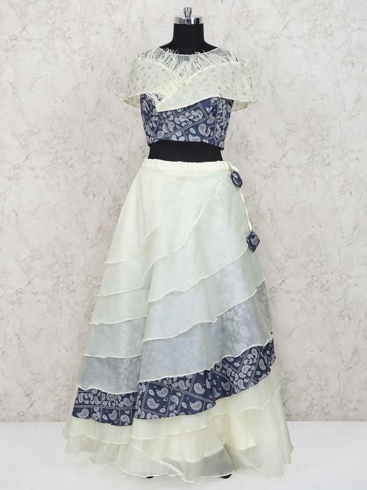 Cream Color Cotton Silk Party Lehenga Choli