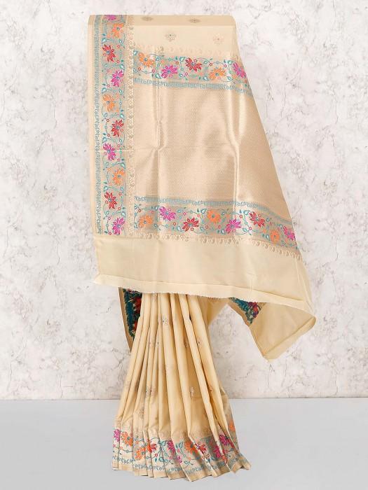 Cream Color Lovely Saree In Semi Silk