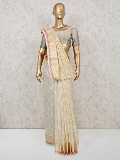 Cream Colored Cotton Banarasi Silk Saree