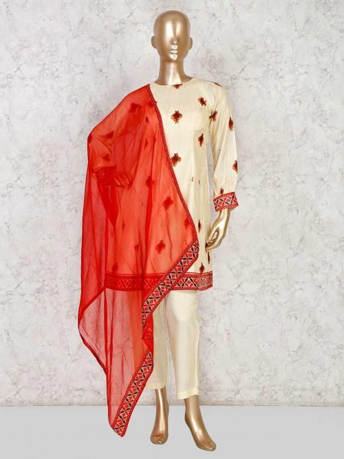 Cream Colored Cotton Printed Suit