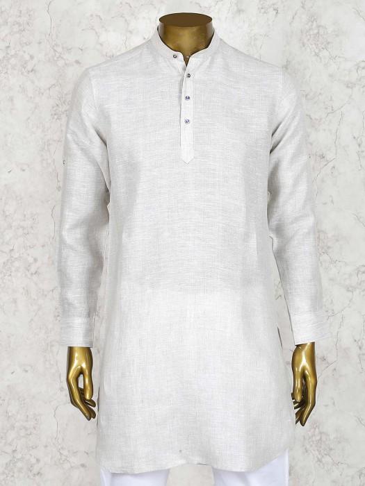 Cream Colored Linen Cotton Solid Short Pathani