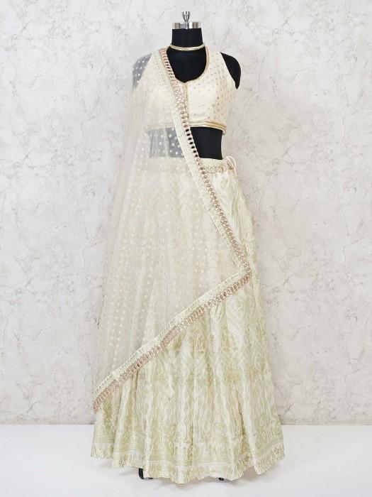 Cream Cotton Silk Lehenga Choli For Wedding