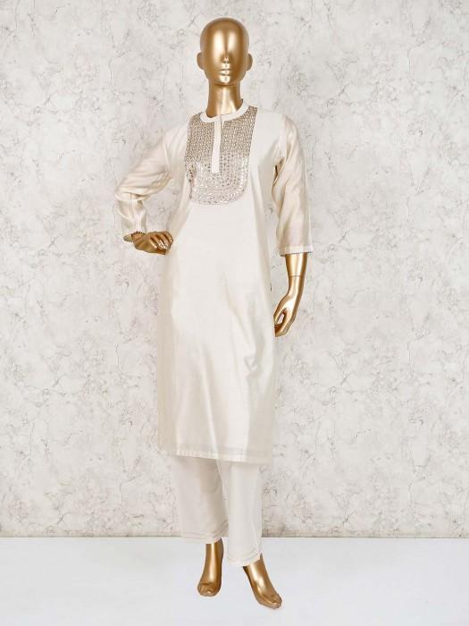 Cream Cotton Silk Punjabi Pant Suit For Festive