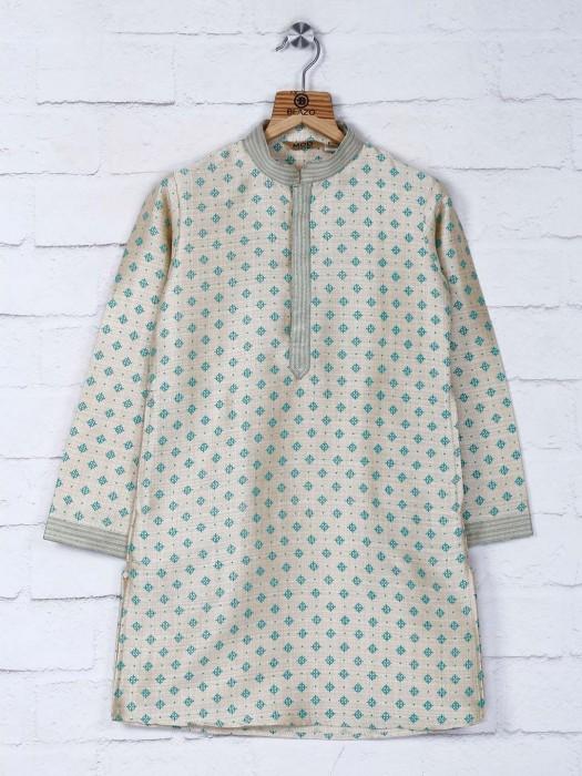 Cream Designer Party Kurta Suit For Boys