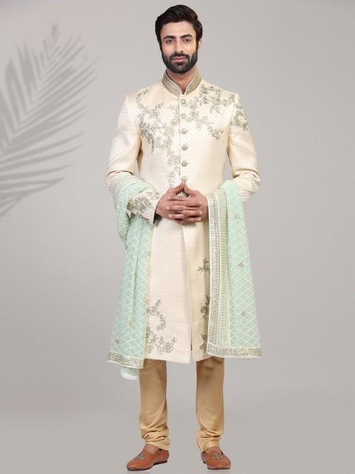 Cream Designer Wedding Wear Sherwani