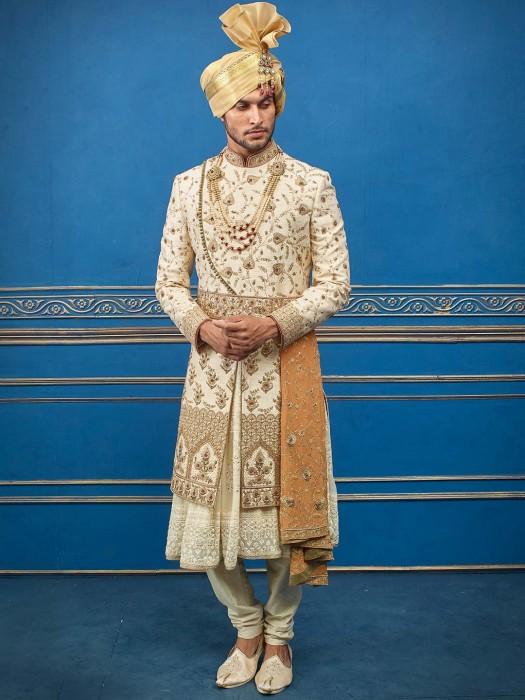 Cream Double Layer Raw Silk Sherwani With Churidar