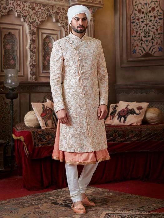 Cream Double Layer Raw Silk Thread Work Sherwani Set