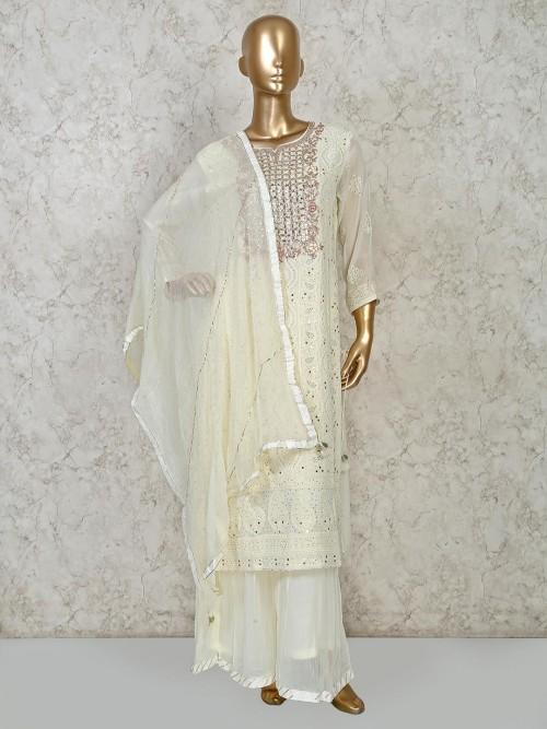 Cream Georgette Festive Exclusive Punjabi Palazzo Suit