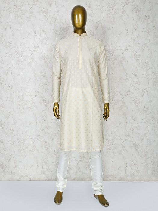 Cream Hue Cotton Silk Farbic Kurta Suit