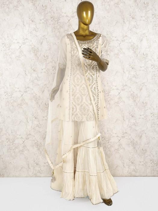 Cream Hue Cotton Silk Punjabi Sharara Suit