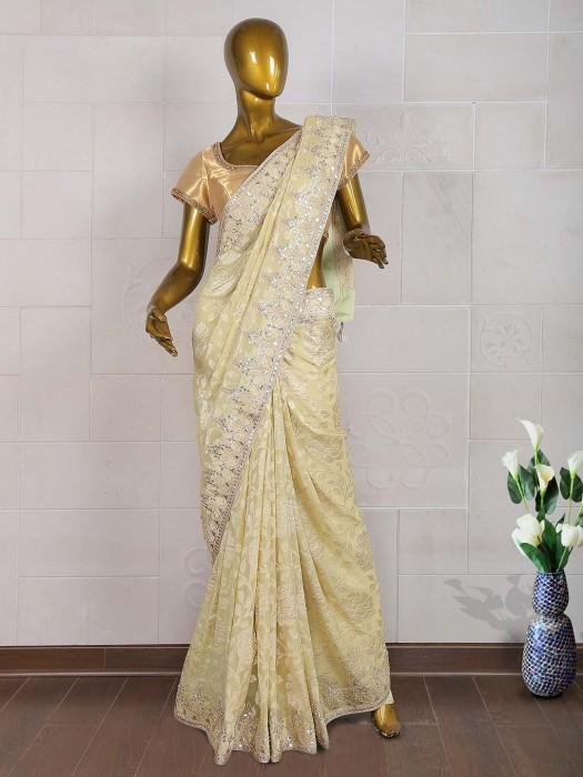 Cream Hue Designer Banarasi Silk Saree