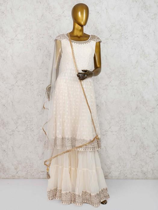Cream Hue Festive Wear Georgette Punjabi Sharara Suit
