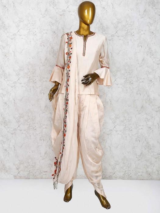 Cream Hue Festive Wear Lovely Dhoti Suit