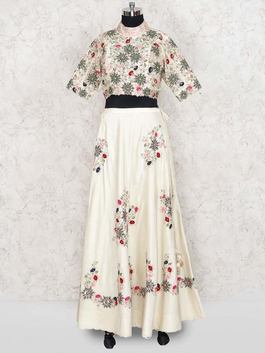 Cream Hue Lovely Lehenga Choli In Cotton Silk