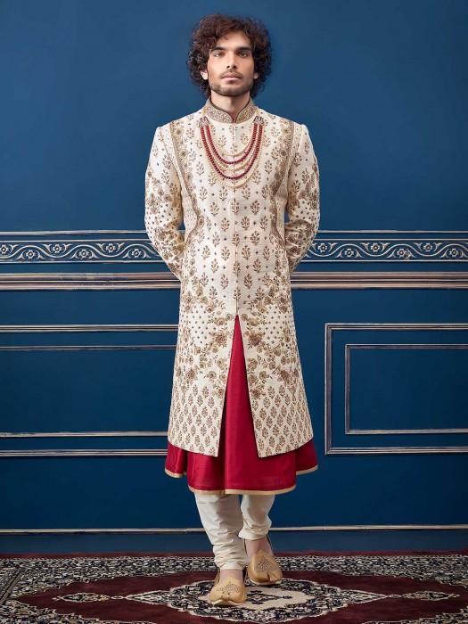 Cream Maroon Raw Silk Groom Sherwani Dress