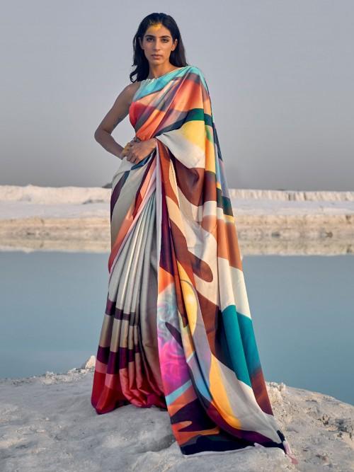 Cream Multicolor Festive Wear Satin Saree