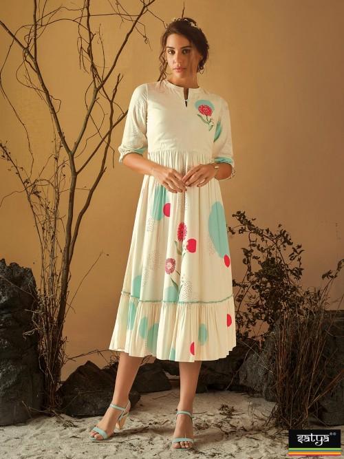 Cream Printed Casual Wear Designer Kurti