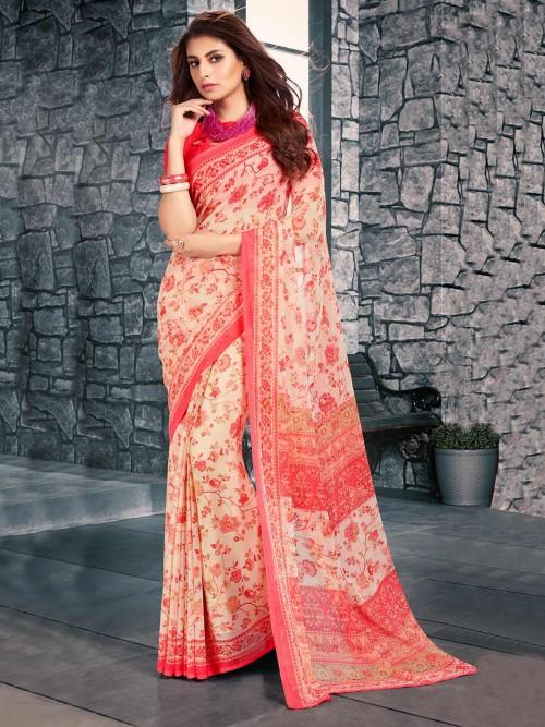 Cream Printed Festive Wear Saree